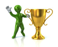 Green man and gold cup. Illustration of green man and gold cup of the winner Royalty Free Stock Photos