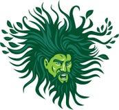 Green Man Head Hair Flowing Leaves Cartoon Royalty Free Stock Photo