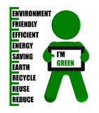 Green Man Holding Eco Tablet PC Illustration Stock Image