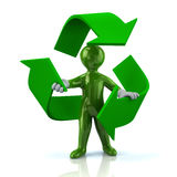 Green man inside recycle arrows. Illustration of green man inside recycle arrows Stock Photos