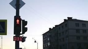 Green Man Pedestrian Crossing Countdown stock video footage