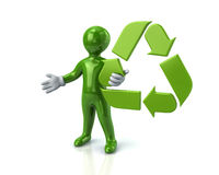 Green man and recycle arrows. Illustration of green man and recycle arrows Royalty Free Stock Images