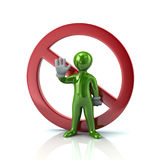 Green man showing stop gesture and not allowed sign Stock Photo