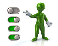 Green man and toggle switches Royalty Free Stock Photography