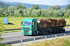 Green MAN truck fully laden by wood drives on slovak D1 highway surrounded by rural landscape. Dolny Hricov, Slovakia - June 29, 2016: Green MAN truck fully stock image