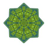Green mandala for energy and vitality obtaining. Circle symmetric embossed patterns in star shape, for meditation and concentration exercises, Vector EPS 10 Stock Photos