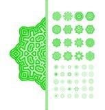 Green  mandala ornament set. Stock Photos