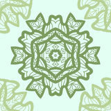 Green mandala ornament symmetry seamless background. Decorative round ornament for colouring anti-stress therapy. Fabric Royalty Free Stock Image