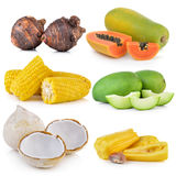 Green mango, corn, jack fruit,  taro roots, papaya Royalty Free Stock Photography