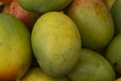 Green Mango. Stack of green mango fruit in a pile on an open air fruit market stall Stock Photo