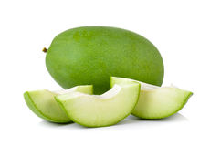 Green mango on white background Stock Image