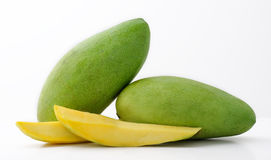 Green Mangoes. Philippine Green Mangoes on white background Stock Photo