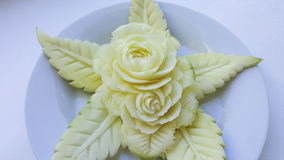 Green mangoes carving. Royalty Free Stock Photo