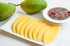 Green Mango with Sweet Sauce, Thai Dessert. Royalty Free Stock Photography