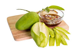 Green Mangoes with Sweet fish sauce Royalty Free Stock Photography