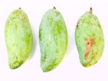 Green mangoes from Thailand isolated on white background Stock Photos