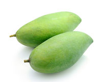 Green mangoes  on a white background Stock Image