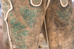 Green manual embroidery on deerskin leather trousers Royalty Free Stock Photo