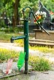 Green manual water pump stock photos