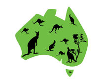 Green map of Australia with lots of kangaroos Stock Images