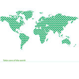 Green map of the earth with flowers. Environmental land. Royalty Free Stock Photo