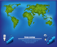 Green map out of the grass with the oceans Stock Images