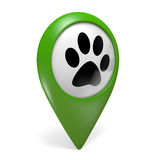 Green map pointer icon with paw symbol for pet shops and animal services Royalty Free Stock Images