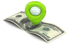 Green Map pointer marking wealth and successs Royalty Free Stock Image