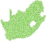 Green map of South Africa Royalty Free Stock Photo