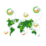 Green map with tree and percentage element for info graphic vect Royalty Free Stock Photo