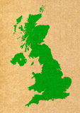 Green map of United Kingdom on carton background Stock Images