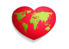Green Map world over red heart Stock Image