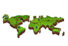World map background with grass field. A green map of the world on white background Royalty Free Stock Image