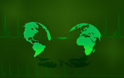 Green maps. Illustrated earth maps green nuanced. Many metaphorical uses Stock Photo