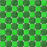 Green marble square floor tiles seamless pattern texture background Stock Photo