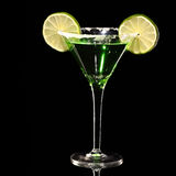 Green margareta fresh Coctail isolated on black Royalty Free Stock Photos