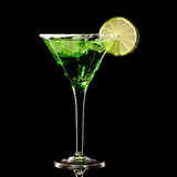 Green margareta fresh Coctail isolated on black Royalty Free Stock Photography