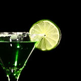 Green margareta fresh Coctail isolated on black Royalty Free Stock Images