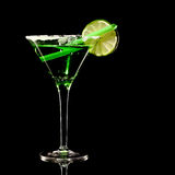Green margareta fresh Coctail isolated on black Stock Photography