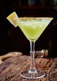 Green margarita melon cocktail Stock Photos