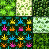 Green marijuana background vector illustration seamless pattern marihuana leaf herb narcotic textile Stock Photography