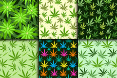 Green marijuana background vector illustration seamless pattern marihuana leaf herb narcotic textile Royalty Free Stock Images