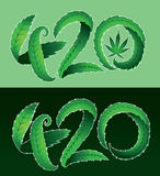 Green marijuana leaf 420 text  illustration Royalty Free Stock Image