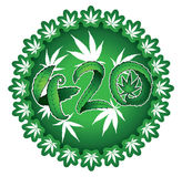 Green marijuana leaf 420 text illustration stamps Stock Photography