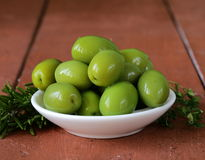 Green marinated olives in  bowl Royalty Free Stock Photo