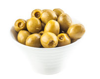 Green marinated olives Stock Images