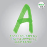 Green Marker Alphabet and Digit Vector Stock Image