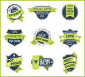 Green marketing labels (set of 5) Stock Photography