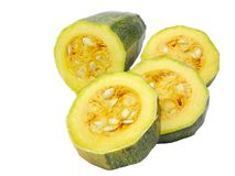 Green marrow. Cut in slices isolated on white Royalty Free Stock Photos