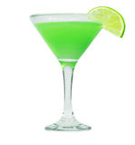 Green martini cocktail into glass Stock Photos